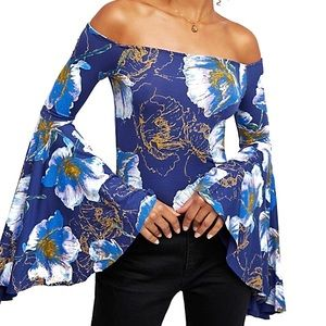 NWT Free People Bell Sleeve Floral Print Blouse